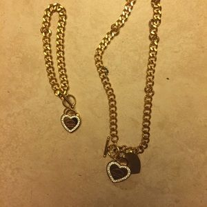 Matching heart necklace and bracelet